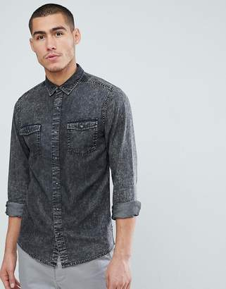 ONLY & SONS Denim Shirt In Slim Fit With Acid Wash