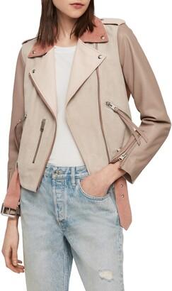 AllSaints Balfern Mix Suede & Leather Biker Jacket