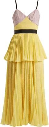 Self-Portrait Contrast-panel pleated dress