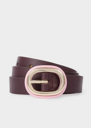 Paul Smith Women's Burgundy Leather Belt With Pink Buckle