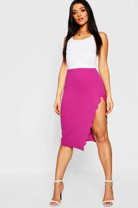 boohoo Scallop Trim Split Midi Skirt