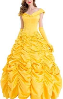 Lv-ring Women's Beuty nd Best Belle Cosply Princess Dress Gold Prty Dress