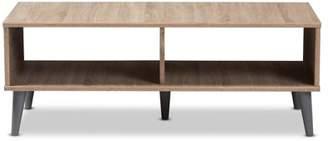 Baxton Studio Pierre Mid-Century Modern Oak and Light Grey Finished Wood Coffee Table