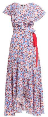 Beulah - Ratna Floral Print Silk Wrap Dress - Womens - Red Multi
