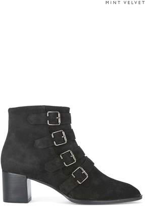 Next Womens Mint Velvet Black Hope Suede Multi Buckle Suede Boot