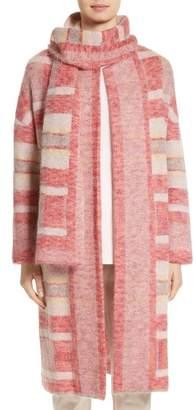 St. John Lofty Knit Plaid Blanket Coat