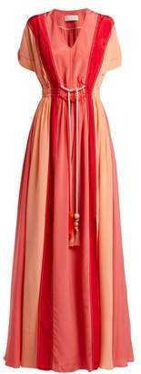 Peter Pilotto Panelled Silk Crepe De Chine Gown - Womens - Pink