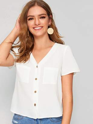 Shein Button Front Pocket Patched Top