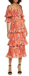 Self-Portrait Floral Print Pleated Tiered Midi Dress