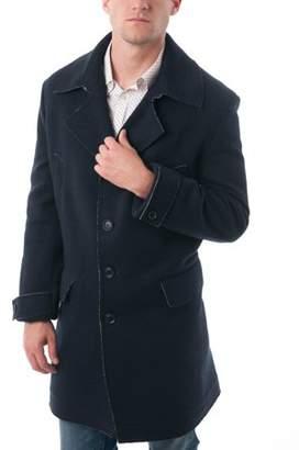 Verno Big Men's Navy Blue Rough Selvedge Wool Blend Car Coat