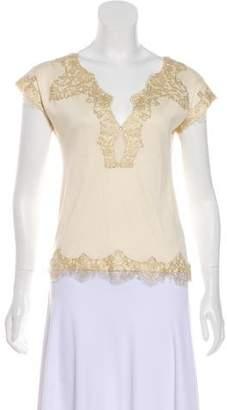 Ralph Lauren Black Label Lace-Trimmed Short Sleeve Top