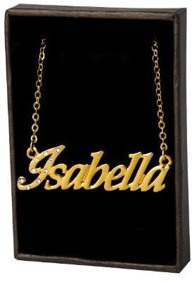 Isabella Collection Zacria Name Necklace 18K Yellow Gold Plated - Includes Free Gift Bag & Gift Box