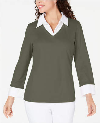 Karen Scott Cotton Layered-Look Sweater
