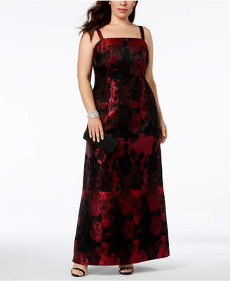 Adrianna Papell Plus-Size Sleeveless Jacquard Gown