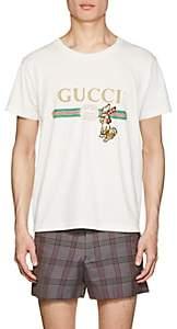 Gucci Men's Rabbit-Patch Logo-Print Cotton T-Shirt - White