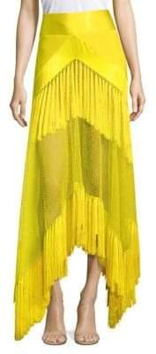 Diane von Furstenberg Mesh Tassel Midi Skirt