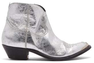 Golden Goose Young Distressed Leather Cowboy Ankle Boots - Womens - Silver Gold