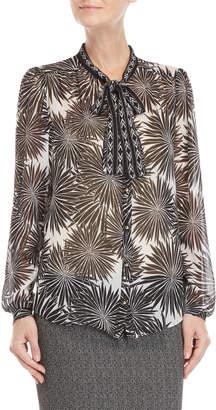 Atos Lombardini Printed Tie-Neck Silk Blouse