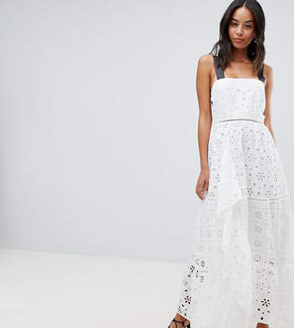 Asos Tall DESIGN Tall Premium Broderie Maxi Dress With Contrast Straps