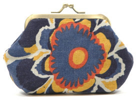 Hayden-Harnett CAPRI COIN PURSE, BLUE AND ORANGE FLORAL