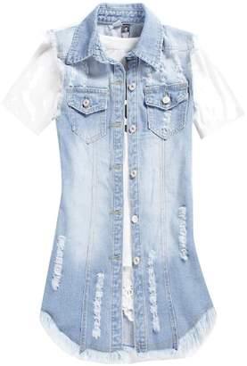 FieerWomen Fieer Womens Ripped Sleeveless Plus-Size Mid Long Denim Vest Jean Jacket 3XL