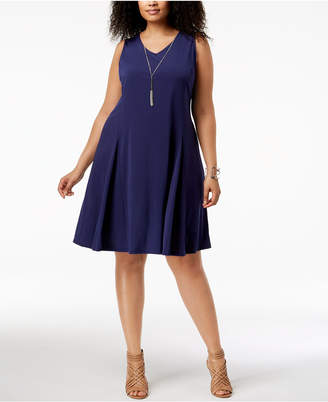 NY Collection Plus Size Fit & Flare Necklace Dress