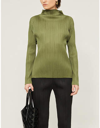 Pleats Please Issey Miyake Basics high-neck pleated top