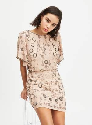 Miss Selfridge PETITE Nude Embellished Mini Dress