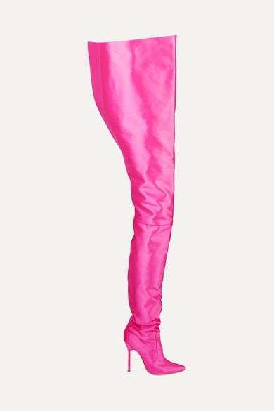 Vetements + Manolo Blahnik Satin Boots - Bright pink