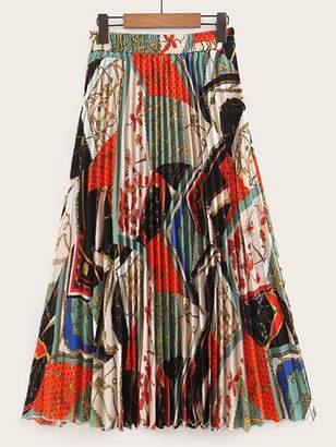 Shein Chain Print Pleated Skirt
