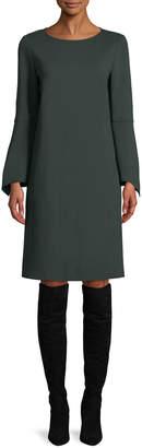 Lafayette 148 New York Paloma Punto Milano Dress w/ Trumpet Sleeves