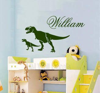 H&M Wall Decal Personalised Name with T Rex Dinosaurs Removable Wall Decal