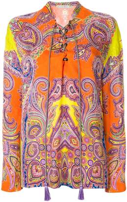 Etro printed lace-up blouse