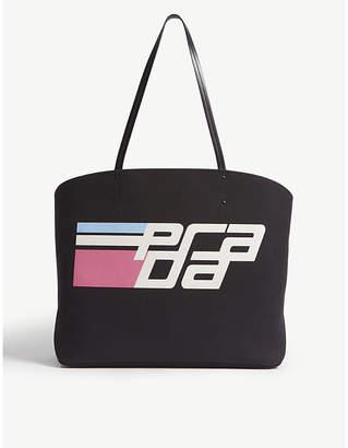 Prada Black and White Racing Logo Cotton Tote Bag