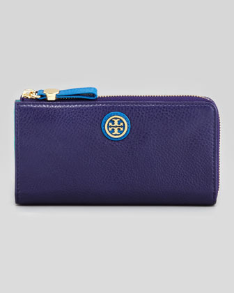 Tory Burch Clay Continental Zip Wallet, Blue Colorblock