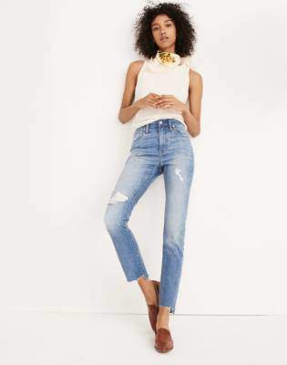 Madewell The High-Rise Slim Boyjean in Lita Wash: Step-Hem Edition