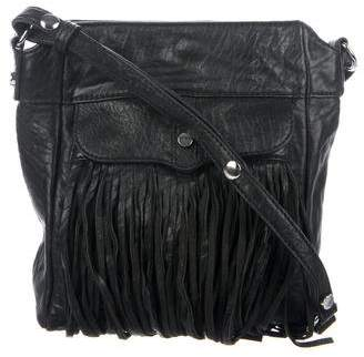 Rebecca Minkoff Fringe-Accented Grained Leather Shoulder Bag