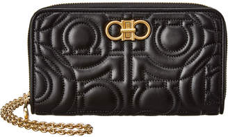 Salvatore Ferragamo Quilted Leather Wallet On Chain
