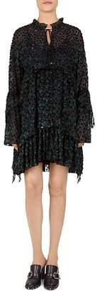 The Kooples Bliss Garden Velvet Dot Shift Dress