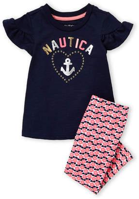 707c526035248 Nautica Toddler Girls) Two-Piece Short Sleeve Tee & Heart Print Leggings Set
