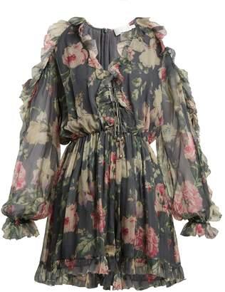 Zimmermann Iris floral-printed sheer-silk playsuit