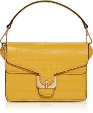 Coccinelle Ambrine Spark Croco Print Leather Mini Satchel Bag w/Shoulder Strap