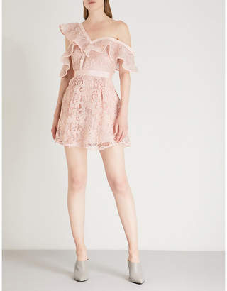 Self-Portrait Off-the-shoulder guipure-lace mini dress