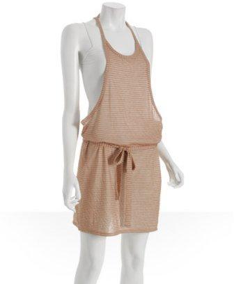 Generra pecan striped jersey racerback dress