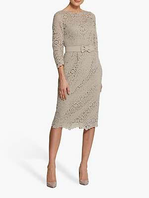 BEIGE Helen McAlinden Michelle Lace Mink Midi Dress, Neutral