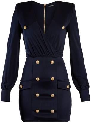 Balmain V-neck button-embellished jersey mini dress