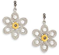 Coomi Silver Women's Opera Diamond, Crystal, 20K Yellow Gold & Sterling Silver Flower Drop Earrings