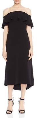 Halston Off-the-Shoulder Ruffled Crepe Midi Dress