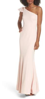 Vince Camuto One-Shoulder Ruffle Gown