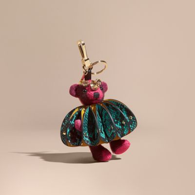 Burberry Burberry Thomas Bear Charm in Ruffled Leather with Crystals